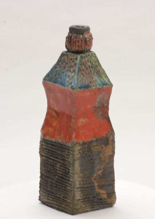 Giuseppe Canali Bottiglia a base quadrata Ceramica Raku