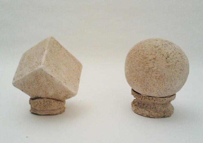 Giuseppe Canali Cubo e Sfera Ceramica Raku da cuocere