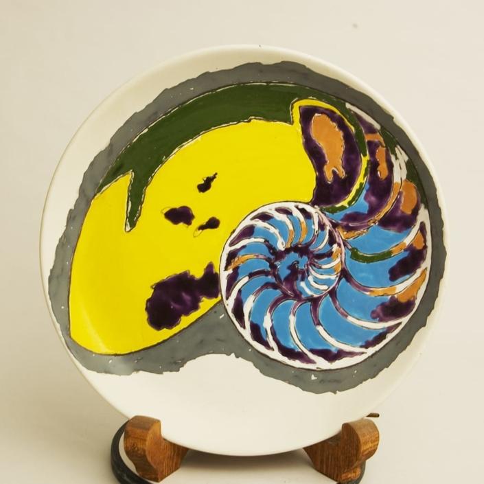Giuseppe Canali Piattone Conchiglia Nautilus Ceramica